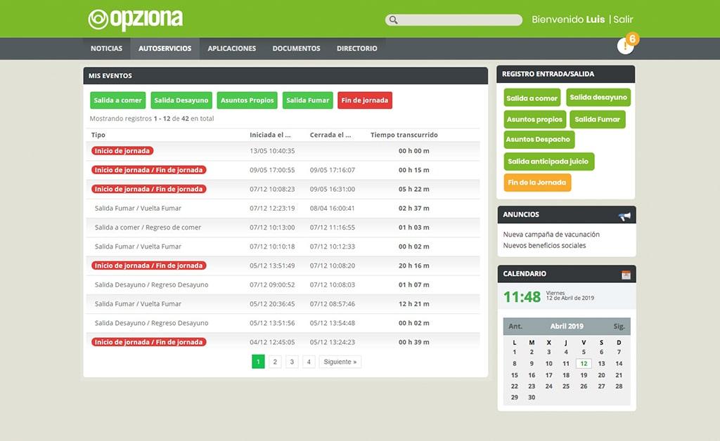 registro de jornada opziona portal del empleado